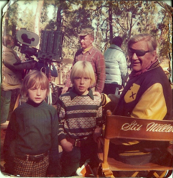 Rod (center) with John Wayne on location in Central Oregon circa 1975.